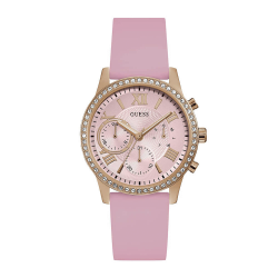 GUESS WOMEN'S ROSE GOLD TONE CASE PINK SILICONE  WATCH - W1135L2 image here