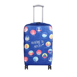 Wanderskye Where to Next Luggage Cover - Medium Blue WTN-5809-02 image here
