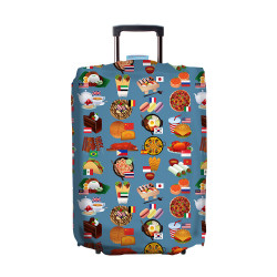 Wanderskye, FOOD OF THE WORLD LUGGAGE COVER SMALL, Blue, FOTW-5804-01 image here