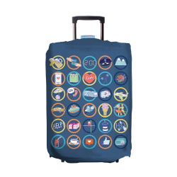 Wanderskye, ICON CHAT LUGGAGE COVER MEDIUM, Blue, IC-5807-02 image here