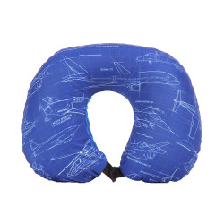 Wanderskye, AIRPLANES 2 IN 1 NECK PILLOW WITH BLANKET, Blue, A-5701 image here