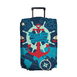 Wanderskye, NAUTICAL REVERSIBLE LUGGAGE COVER MEDIUM, Blue, N-6704-02 image here