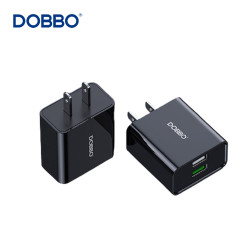 Dobbo A10 Fast Charging Dual Port Travel Power Adapter/Charger Black image here
