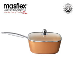 Masflex 24 cm Copper Induction Square Casserole with Glass Lid image here
