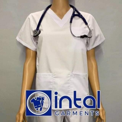 SCRUBSUIT Workwear Doctor Nurse Uniform Unisex Polycotton Set 01A Regular 2 Pocket Pants Color White image here