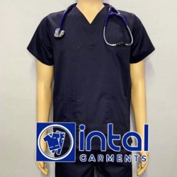SCRUBSUIT Workwear Doctor Nurse Uniform Unisex Polycotton Set 01A Regular 2 Pocket Pants Color Midnight Blue image here