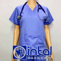 SCRUBSUIT Workwear Doctor Nurse Uniform Unisex Polycotton Set 01A Regular 2 Pocket Pants Color Powder Blue image here