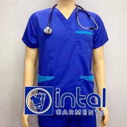 SCRUBSUIT Workwear Doctor Nurse Uniform Unisex Polycotton Set 01B Regular 2 Pocket Pants Color Admiral Royal Blue image here
