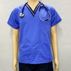 SCRUBSUIT Workwear Doctor Nurse Uniform Unisex Polycotton Set 01C Regular 2 Pocket Pants Color Sky Azure Blue and Midnight Blue image here