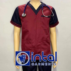 SCRUBSUIT Workwear Doctor Nurse Uniform Unisex Polycotton Set 01D Regular 2 Pocket Pants Color Maroon and Midnight Blue image here