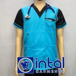 SCRUBSUIT Workwear Doctor Nurse Uniform Unisex Polycotton Set 01D Regular 2 Pocket Pants Color Aqua Blue and Black image here