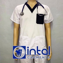 SCRUBSUIT Workwear Doctor Nurse Uniform Unisex Polycotton Set 01I Regular 2 Pocket Pants Color White and Black image here