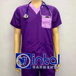 SCRUBSUIT Workwear Doctor Nurse Uniform Unisex Polycotton Set 01I Regular 2 Pocket Pants Color Violet and Lilac image here