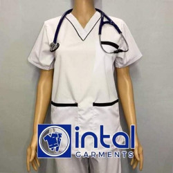 SCRUBSUIT Workwear Doctor Nurse Uniform Unisex Polycotton Set 02 Regular 2 Pocket Pants Color White and Black image here