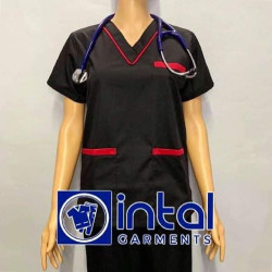 SCRUBSUIT Workwear Doctor Nurse Uniform Unisex Polycotton Set 02 Regular 2 Pocket Pants Color Black and Red image here
