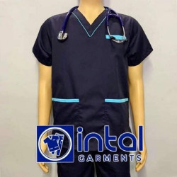 SCRUBSUIT Workwear Doctor Nurse Uniform Unisex Polycotton Set 02 Regular 2 Pocket Pants Color Midnight Blue and Turquiose image here