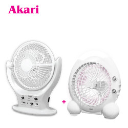 """Akari 8"""" LED Rechargeable Fan (ARF-5873) + ARF-5875 -  Buy 1, Get 1 image here"""