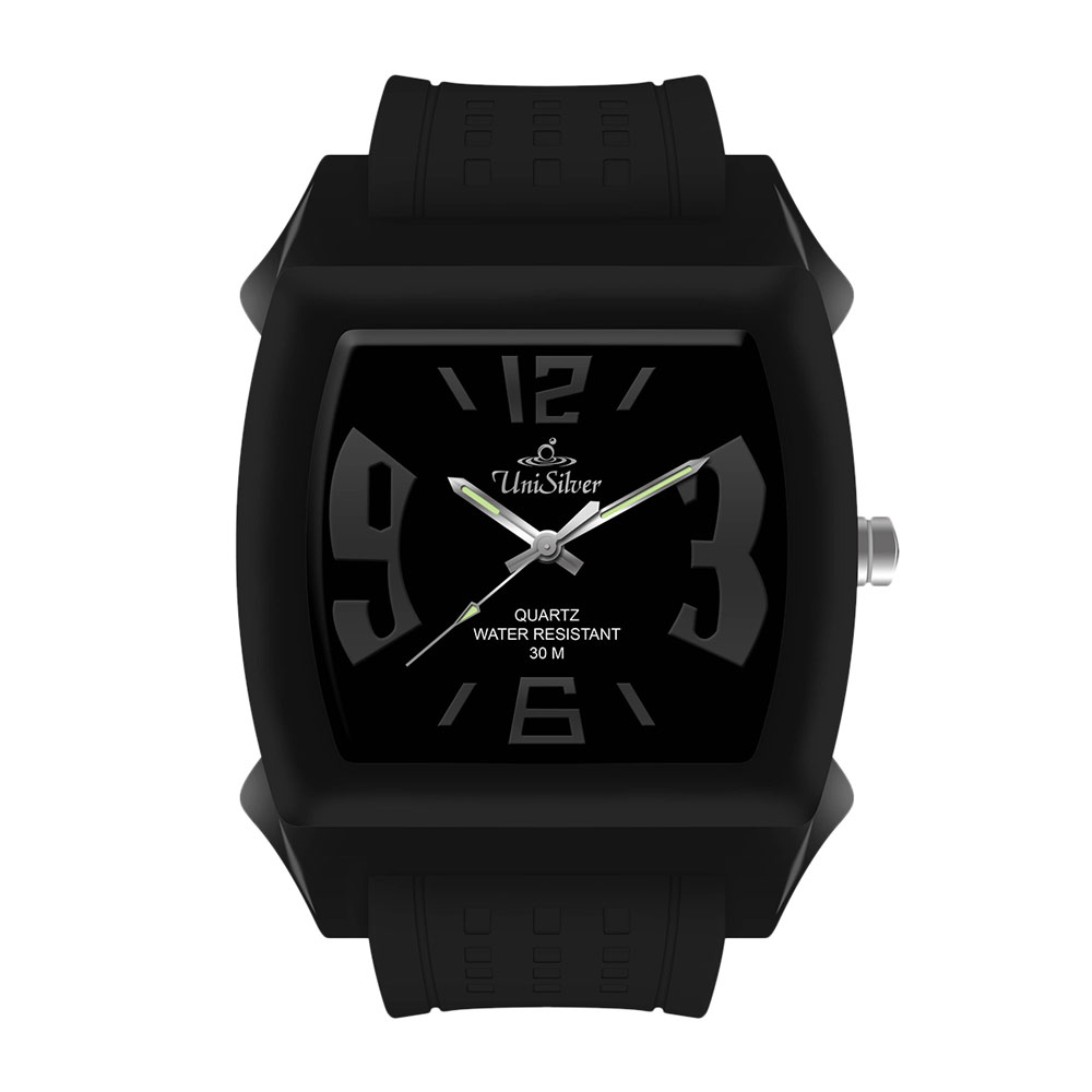 UniSilver TIME Kandy Krushhh (Regular Size) Unisex Black / Silver Analog Rubber Watch KW479-2040 image here