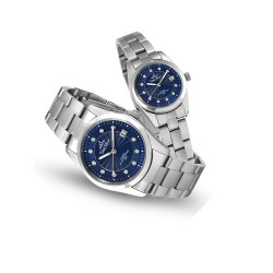 UNISILVER TIME ASTRONICON SILVER / BLUE ANALOG STAINLESS STEEL PAIR WATCH KW2405-1103 & KW2406-2103 image here