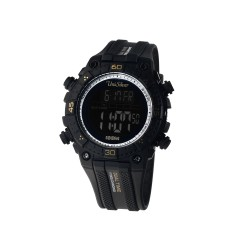 UNISILVER TIME ZOLT MEN'S SOLAR-POWERED DIGITAL RUBBER WATCH KW2313-1001 (BLACK/GOLD/SILVER)   image here
