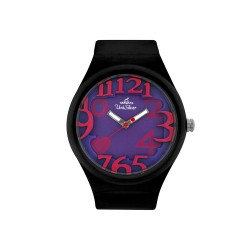 UNISILVER TIME HEARTS WOMEN'S BLACK RUBBER WATCH KW1268-2001   image here