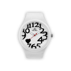 UNISILVER TIME HEARTS WOMEN'S WHITE RUBBER WATCH KW1268-2011   image here