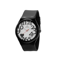 UNISILVER TIME HEARTS WOMEN'S BLACK RUBBER WATCH KW1268-2012   image here