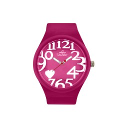 UNISILVER TIME HEARTS WOMEN'S FUCHSIA PINK RUBBER WATCH KW1268-2021   image here