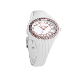 UNISILVER TIME JULIE ANNE SAN JOSE'S ELLIPSE WOMEN'S WHITE / ROSE GOLD ANALOG RUBBER WATCH KW1757-2001  image here