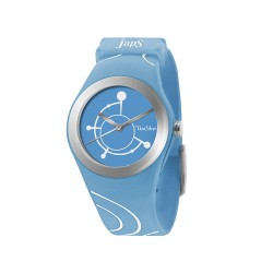 UNISILVER TIME JULIE ANNE SAN JOSE'S SWEET MELODY WOMEN'S LIGHT BLUE / SILVER / WHITE ANALOG RUBBER WATCH KW1569-2005   image here