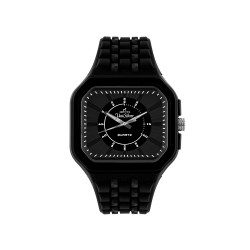 UNISILVER TIME DERRICK MONASTERIO'S MEN'S BLACK RUBBER STRAP WATCH KW1565-1001  image here
