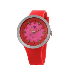 UNISILVER TIME SUGAR PILLZ WOMEN'S RED/SILVER/PINK ANALOG RUBBER WATCH KW2290-2005   image here