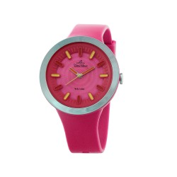 UNISILVER TIME SUGAR PILLZ WOMEN'S PINK/SILVER/RED ANALOG RUBBER WATCH KW2290-2007   image here