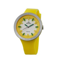 UNISILVER TIME SUGAR PILLZ WOMEN'S YELLOW/SILVER/OFF-WHITE ANALOG RUBBER WATCH KW2290-2008   image here