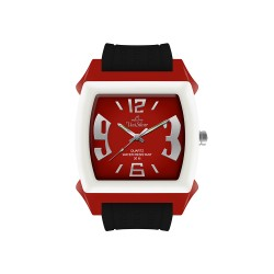 UNISILVER TIME KANDY KRUSHHH (REGULAR SIZE) UNISEX RED / BLACK / OFF-WHITE ANALOG RUBBER WATCH KW479-2102   image here