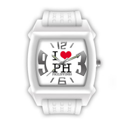 "UniSilver TIME ""I Love PH"" Junior Size Unisex White / Red / Silver Analog Rubber Watch KW1088-1001 image here"