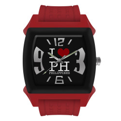 """UniSilver TIME """"I Love PH"""" Regular Size Unisex Red / White / Black Analog Rubber Watch KW1087-1012 image here"""