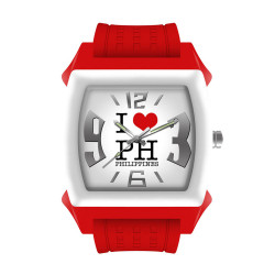 """UniSilver TIME Unisex """"I Love PH"""" Junior Size Red / White / Silver Analog Rubber Watch KW1088-1006 image here"""