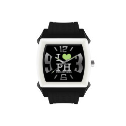 "UniSilver TIME ""I Love PH"" Mini Size Children's Black / White / Light Green Analog Rubber Watch KW1527-1003 image here"