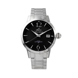 UNISILVER TIME MEN'S GYRO CLASSIC STAINLESS STEEL BLACK WATCH KW2017-1104 image here