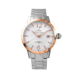 UNISILVER TIME MEN'S GYRO CLASSIC STAINLESS STEEL WHITE / ROSE GOLD WATCH KW2017-1108 image here