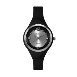UNISILVER TIME LADIES' DIT-DOTS ANALOG RUBBER BLACK WATCH KW2203-2001 image here