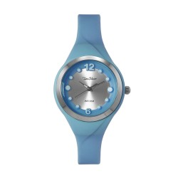UNISILVER TIME LADIES' DIT-DOTS ANALOG RUBBER LIGHT BLUE WATCH KW2203-2004 image here