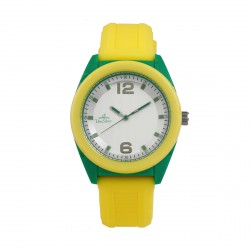 UNISILVER TIME UNISEX NEO POP ANALOG RUBBER YELLOW / GREEN WATCH KW2187-1004 image here