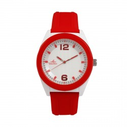UNISILVER TIME UNISEX NEO POP ANALOG RUBBER RED / WHITE WATCH KW2187-1005 image here