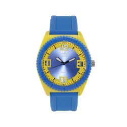 UNISILVER TIME UNISEX SMASHERZ ANALOG RUBBER BLUE / YELLOW WATCH KW2195-1002 image here