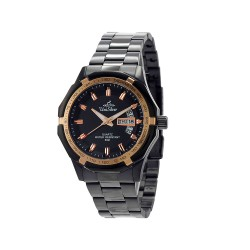 UNISILVER TIME MEN'S TRAXXION ANALOG STAINLESS STEEL BLACK / ROSE GOLD WATCH KW2211-1106 image here