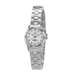 UNISILVER TIME LADIES'  SYLPHETTE STAINLESS STEEL WHITE MOTHER-OF-PEARL WATCH KW2150-2101 image here