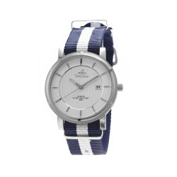 UNISILVER TIME UNISEX ZENTURIA NYLON STAINLESS STEEL NAVY/WHITE WATCH KW2157-1103 image here