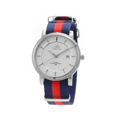 UNISILVER TIME UNISEX ZENTURIA NYLON STAINLESS STEEL NAVY/RED WATCH KW2157-1104 image here